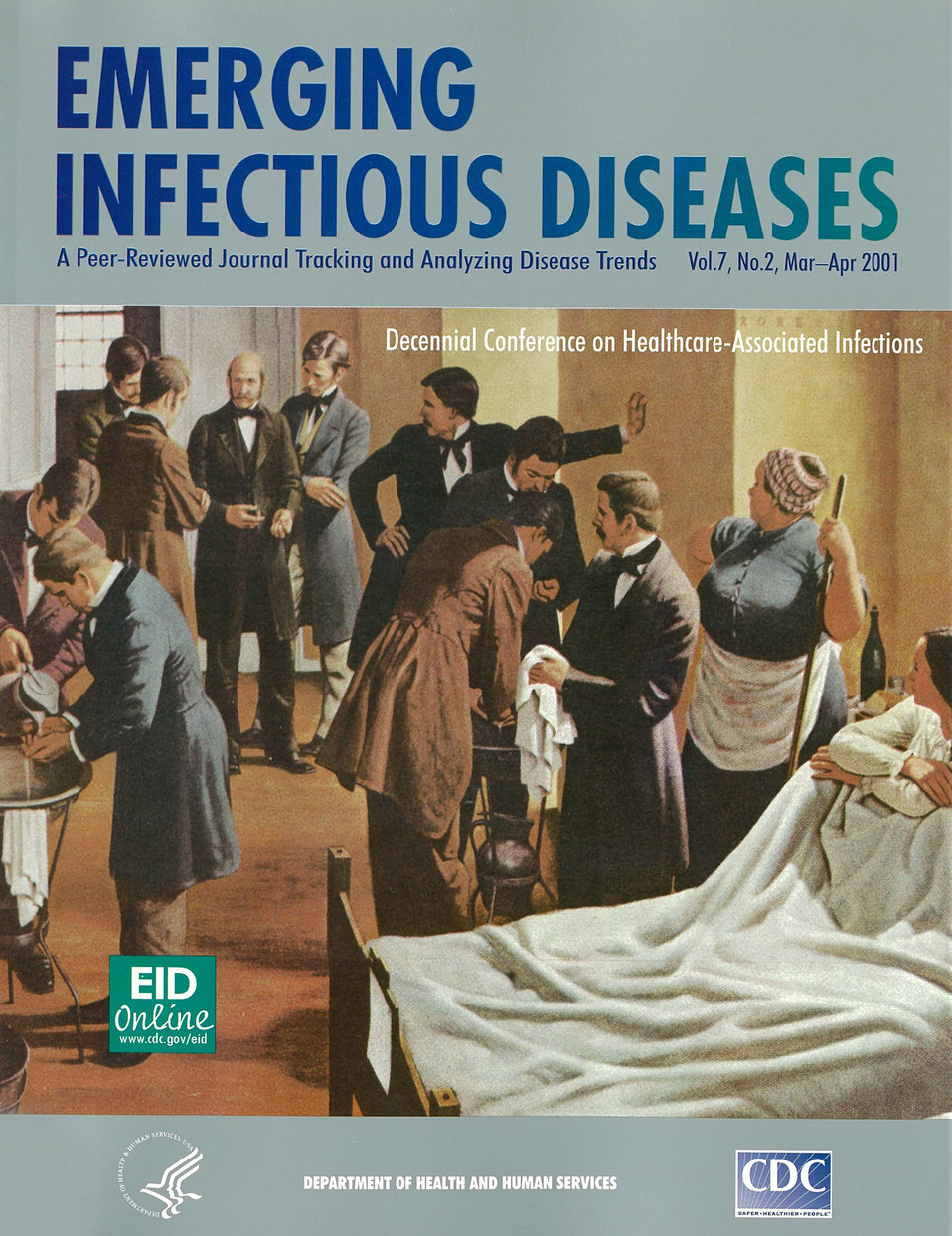 Emerging Infectious Diseases (EID) cover artwork for Volume 7, Number 2, March-April 2001 issue.