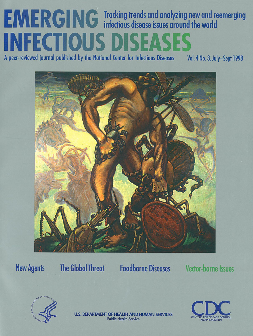 Emerging Infectious Diseases (EID) cover artwork for Volume 4, Number 3, July-September 1998 issue.