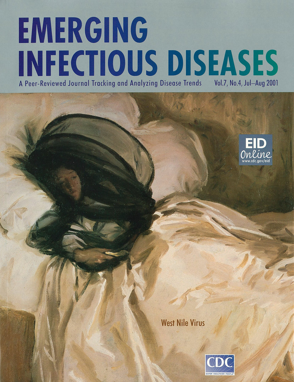 Emerging Infectious Diseases (EID) cover artwork for Volume 7, Number 4, July-August 2001 issue.