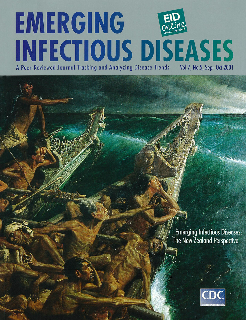 Emerging Infectious Diseases (EID) cover artwork for Volume 7, Number 5, September-October 2001 issue.