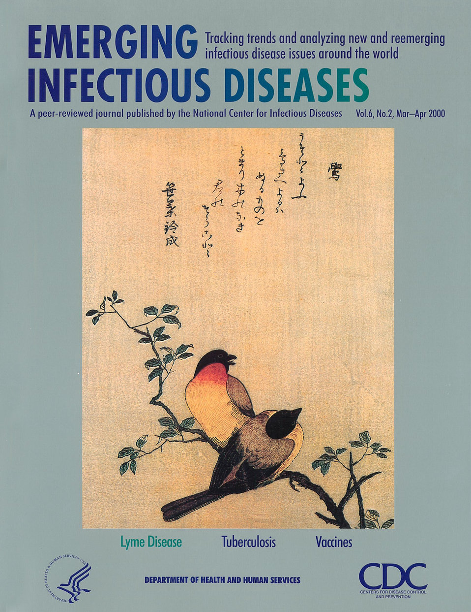 Emerging Infectious Diseases (EID) cover artwork for Volume 6, Number 2, March-April 2000 issue.