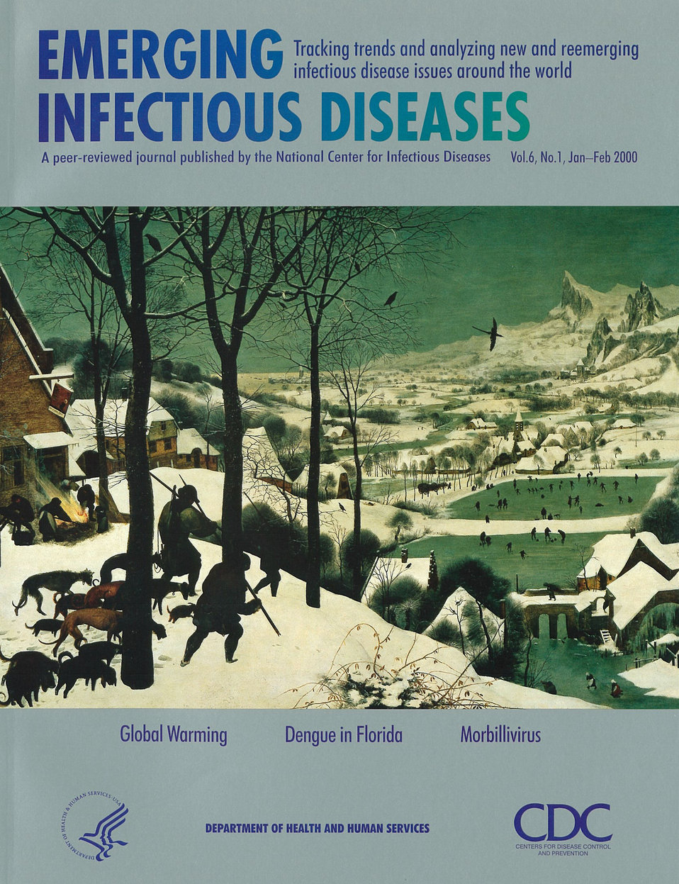 Emerging Infectious Diseases (EID) cover artwork for Volume 6, Number 1, January-February 2000 issue.