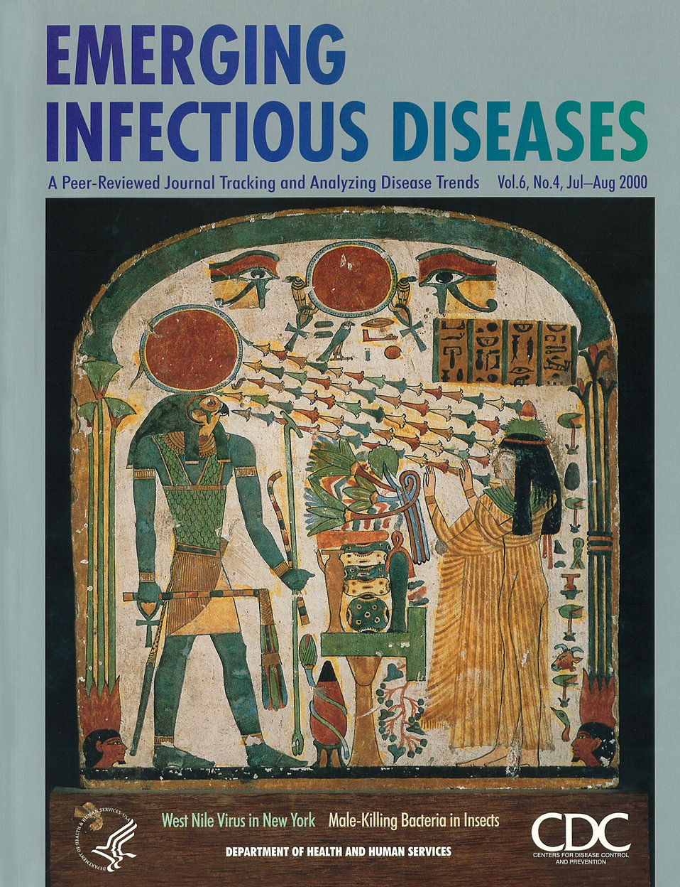 Emerging Infectious Diseases (EID) cover artwork for Volume 6, Number 4, July-August 2000 issue.