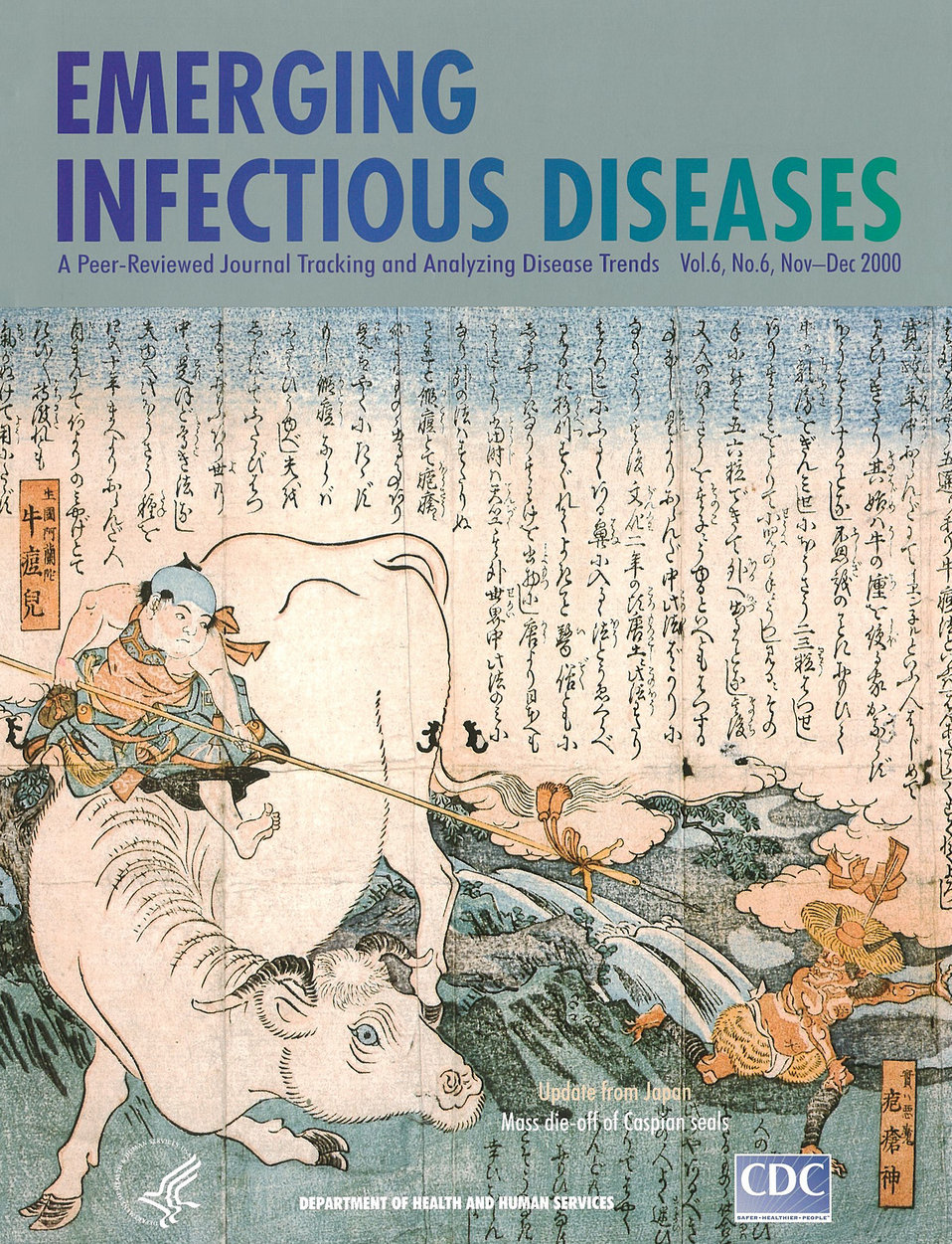 Emerging Infectious Diseases (EID) cover artwork for Volume 6, Number 6, November-December 2000 issue.