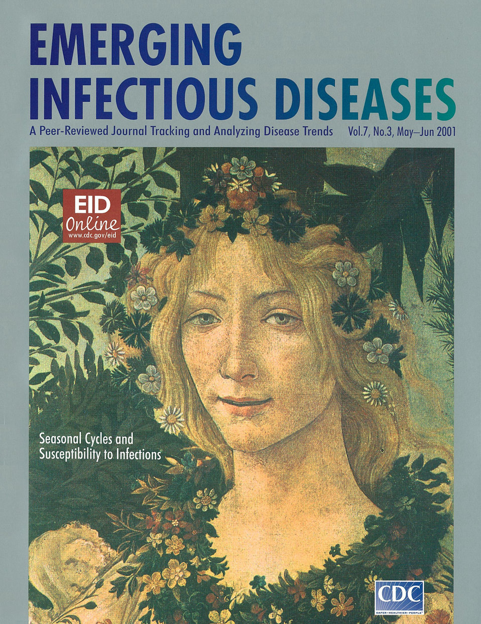Emerging Infectious Diseases (EID) cover artwork for Volume 7, Number 3, May-June 2001 issue.