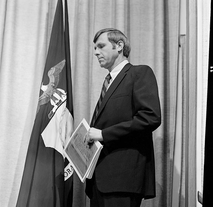 This April 5, 1977 photograph depicts former CDC Director William H. Foege, M.D., M.P.H., while he was standing at a ceremony in which he wa