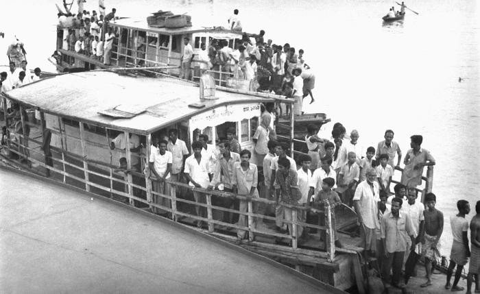 These Bangladeshi residents were aboard a launch that was transporting them along the country's waterways. The launch was used as the main m