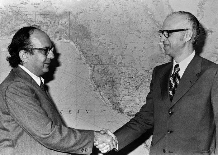 This 1970s photographs showed former Director of the Centers for Disease Control and Prevention (CDC), Dr. David J. Sencer (left) with an un