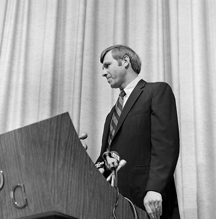 This April 5, 1977 photograph depicts former CDC Director William H. Foege, M.D., M.P.H., while speaking at a ceremony in which he was named