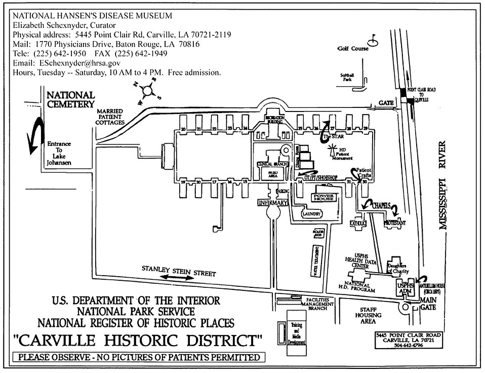 This map depicts the current location, and physical plan of the Carville, Louisiana Leprosarium with all of its component buildings, which i