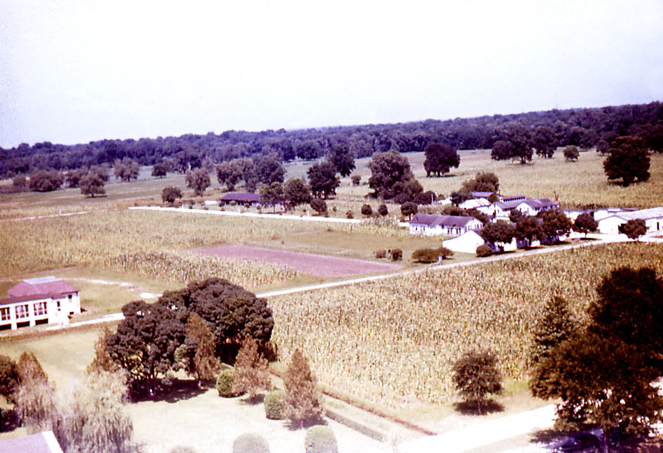 From an historic aerial view, this photograph showed a section of acreage that was part of the Carville, Louisiana Leprosarium's property. P