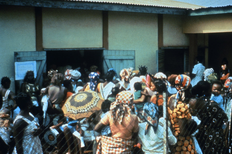 This photograph is showing a clinic outside the United States where CDC field clinicians treated numerous local villagers.