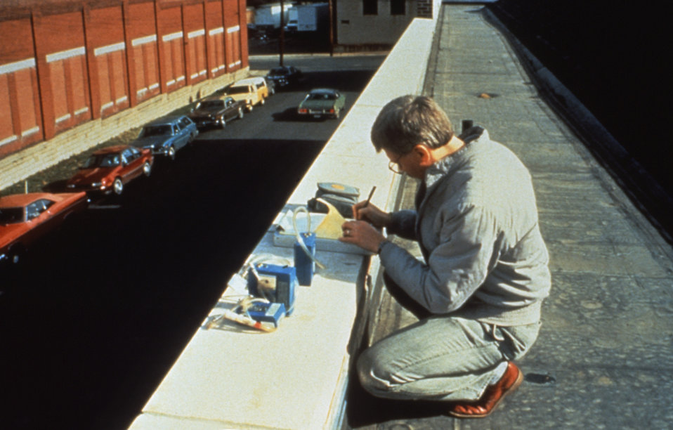 This CDC field officer was conducting a workplace-related health hazard evaluation.