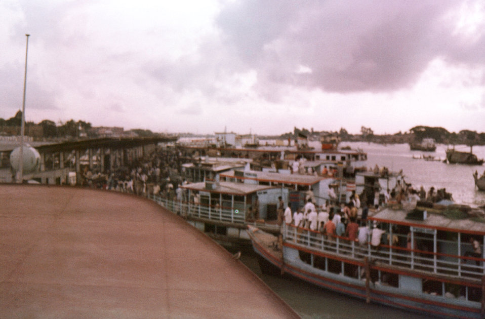 This was the Sader Ghat Ferry Terminal, located in Dhaka, Bangladesh, on the Buriganga River, in September, 1975.
