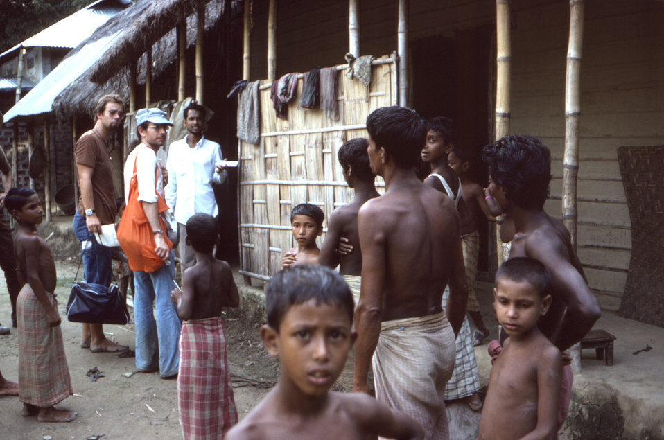 Photographed here in the Sylet District of north-eastern Bangladesh, was Dr. Patrice Engelberts in a brown shirt, Dr. Michael Schwartz weari