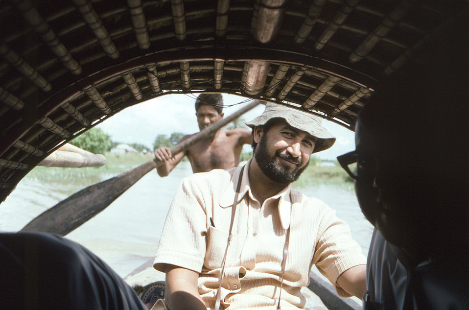 This 1975 photograph depicted public health practitioners, while aboard a riverboat in the north-eastern Bangladesh District of Sylhet. Thes