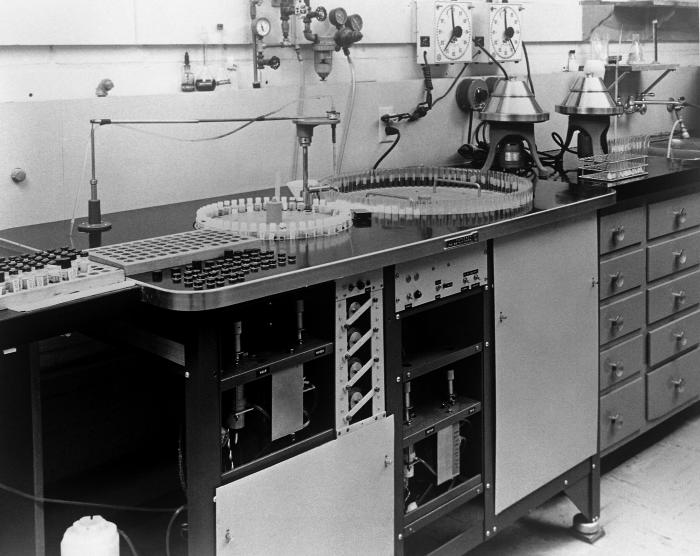 This photograph, taken at a laboratory on the Centers for Disease Control's Chamblee, Georgia campus in 1963, showed a sampling machine that