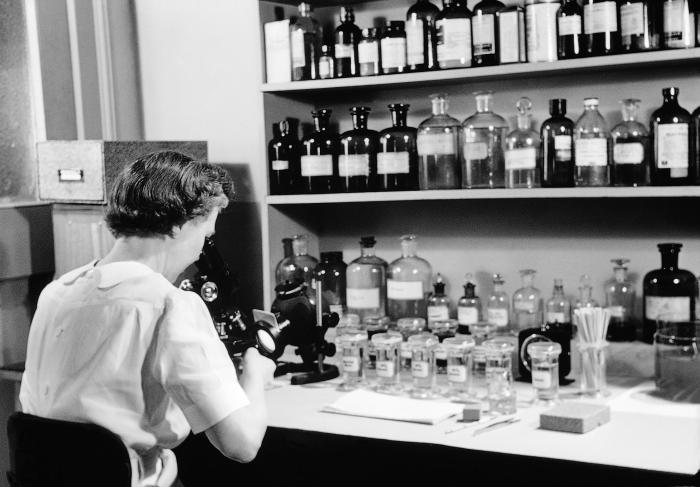 """This is a 1954 still-shot from the CDC produced film """"The Diagnosis of Intestinal Protozoa by Means of Hematoxylin-Stained Smears"""""""