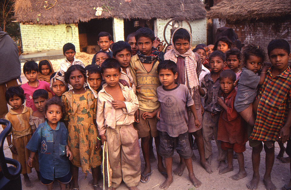 This 2000 image depicted a group of Indian children gathered together in their village located in the state of Uttar Pradesh. The photograph