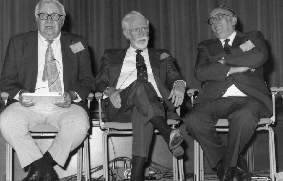 This 1992 photograph shows three former directors of the Centers for Disease Control and Prevention who were present during the 46th anniver