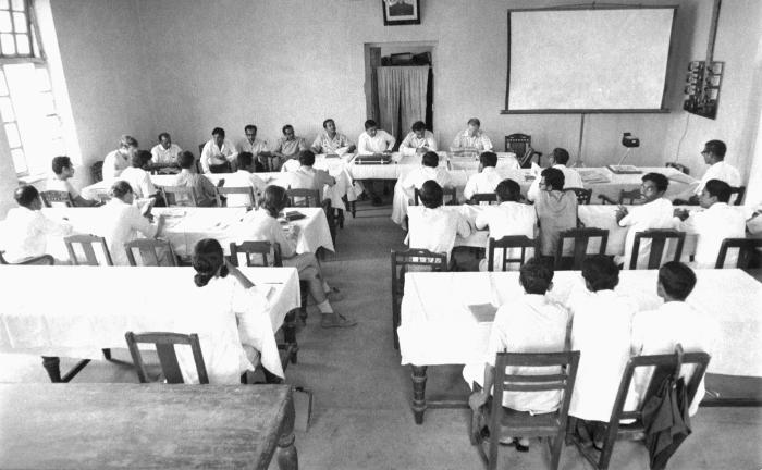 This 1975 image depicted members of the smallpox eradication team, which included E.I.S. officers, W.H.O. officials, and local Bangladesh re