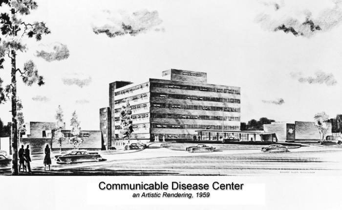 This was a 1959 photograph of an artist's conceptual rendering of the Centers for Disease Control's Building 1, overlooking Clifton Road in