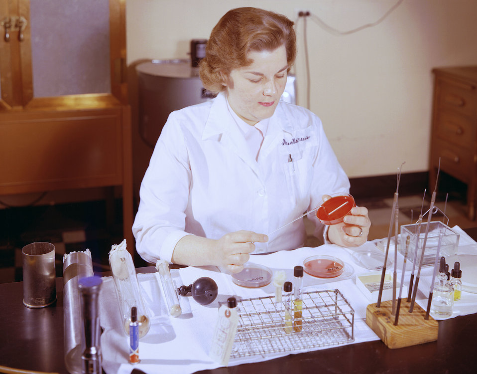 This historic 1963 photograph depicted laboratorian, Betsy Marcus, as she was processing cerebrospinal fluid specimens to be analyzed during