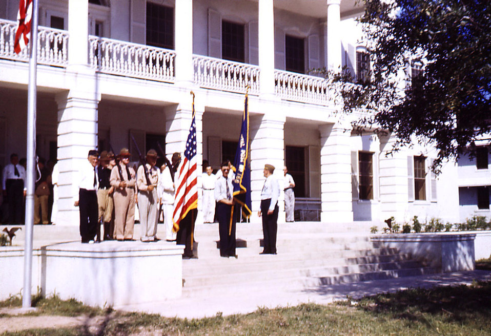 Depicted in this historic image was a Memorial Day celebration on the grounds of the Carville, Louisiana Leprosarium. Memorial Day was consi