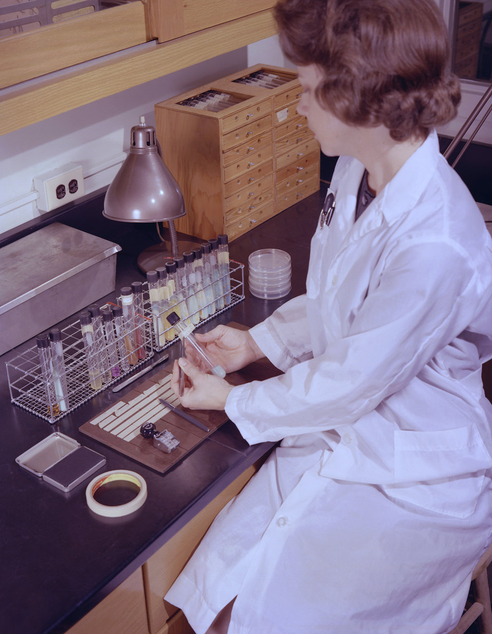 This historic 1963 photograph depicted laboratorian, Charlotte Patton, as she was labeling vials containing Lowenstein-Jensen growth medium