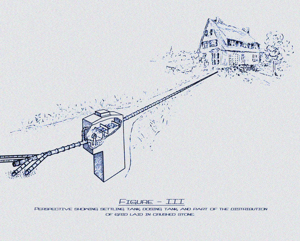This historic diagram, which had been digitally enhanced and colorized, depicted one method of providing sewage disposal for farm homes. The