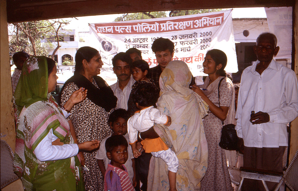 In this 2000 photograph, polio eradication team members were in the process of interviewing Indian mothers about their children's health his