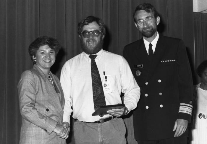 This photograph shows Deborah Mathis (left), who at the time was the Centers for Disease Control's Assistant Director for Management and Ope