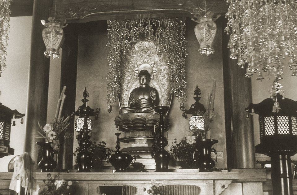 This 1975 image depicts the interior of a Japanese Buddhist temple located in the Bodh Gaya, or the holy pilgrimage site, in the Gaya distri