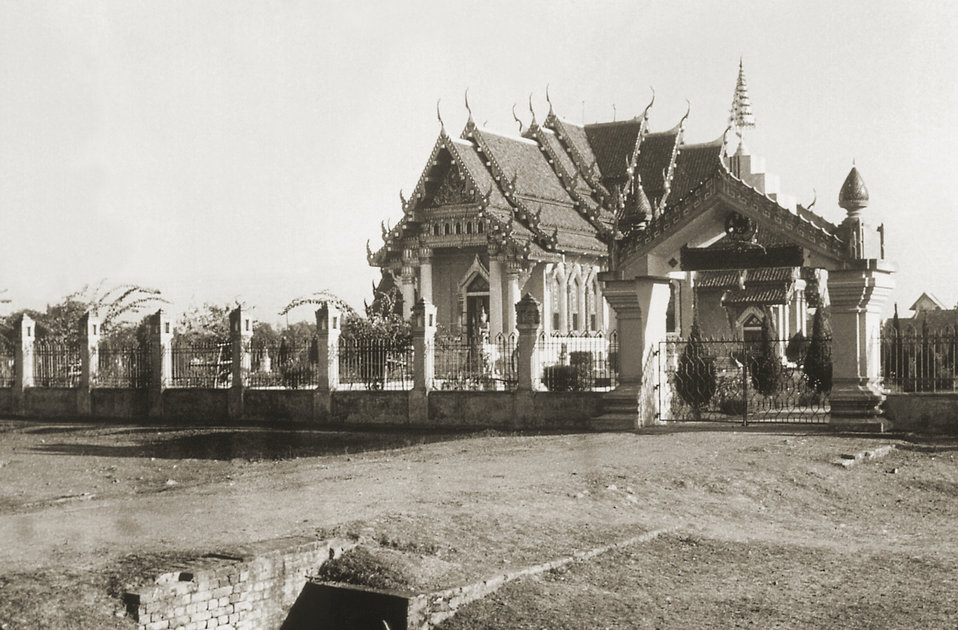 This 1975 image depicts the exterior of the Thai Buddhist temple located in the Bodh Gaya, or the holy pilgrimage site, in the Gaya district