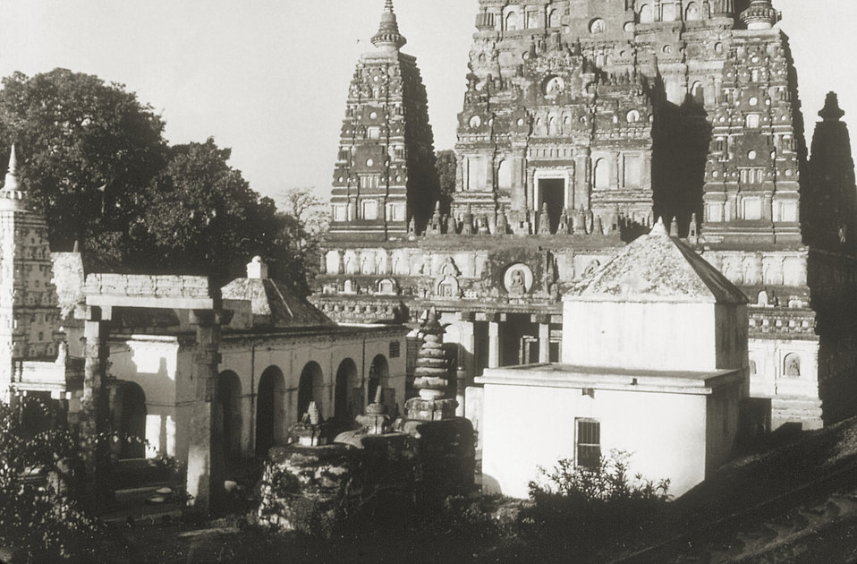 This 1975 image depicts the Mahabodhi Temple, which is the main Buddhist temple located at Bodh Gaya, or the holy pilgrimage site, in the Ga