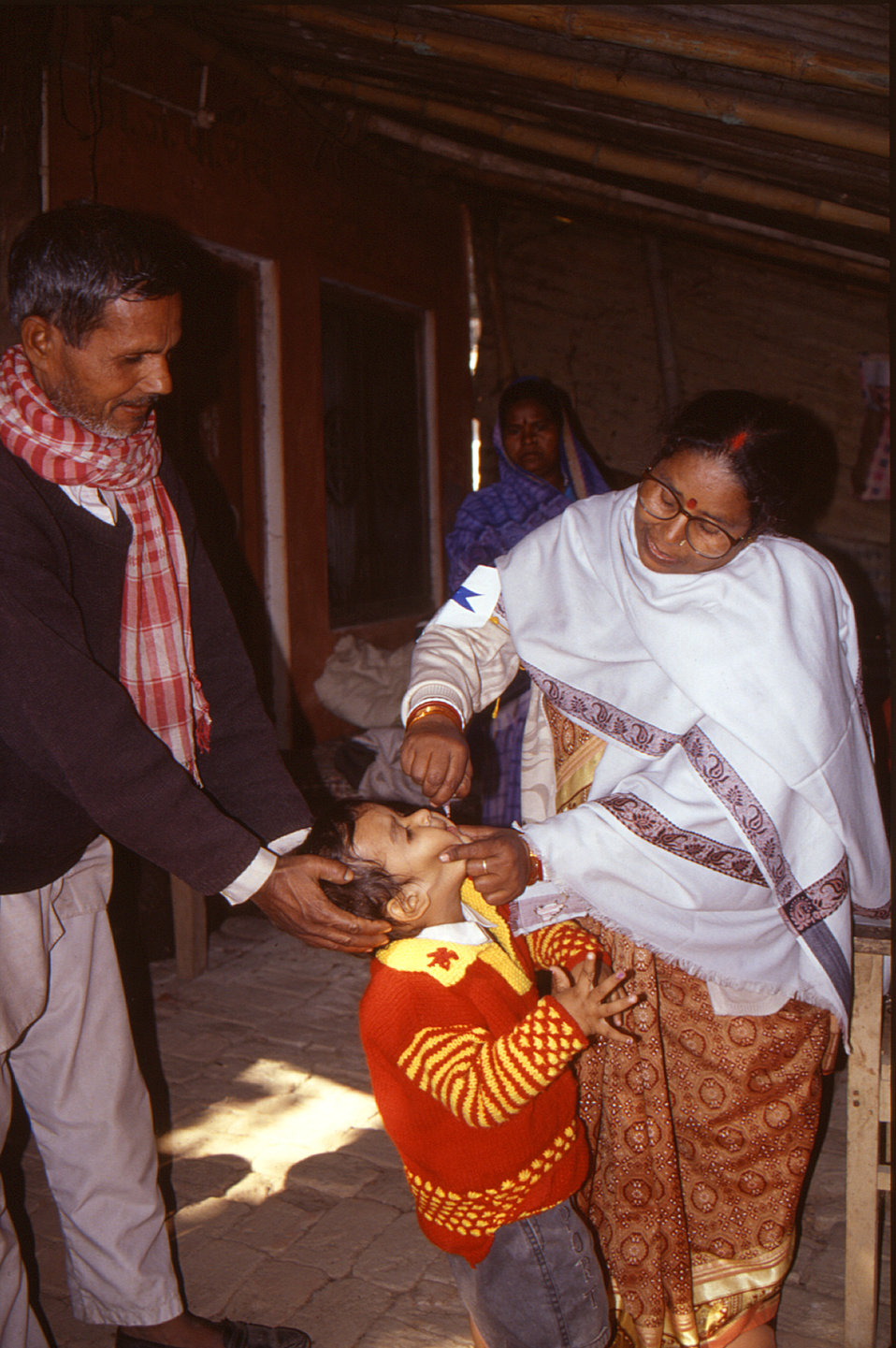 A child receiving a polio vaccine