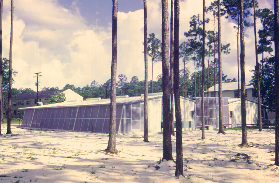 This 1968 image depicts what was an exterior of a Centers for Disease Control (CDC) pesticide testing facility, which was located in Thomasv