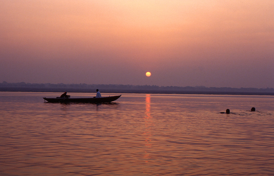 This image, which depicted a beautiful sunset glistening off a body of water in the Gorakhpur District of India, was provided by Chris Zahni