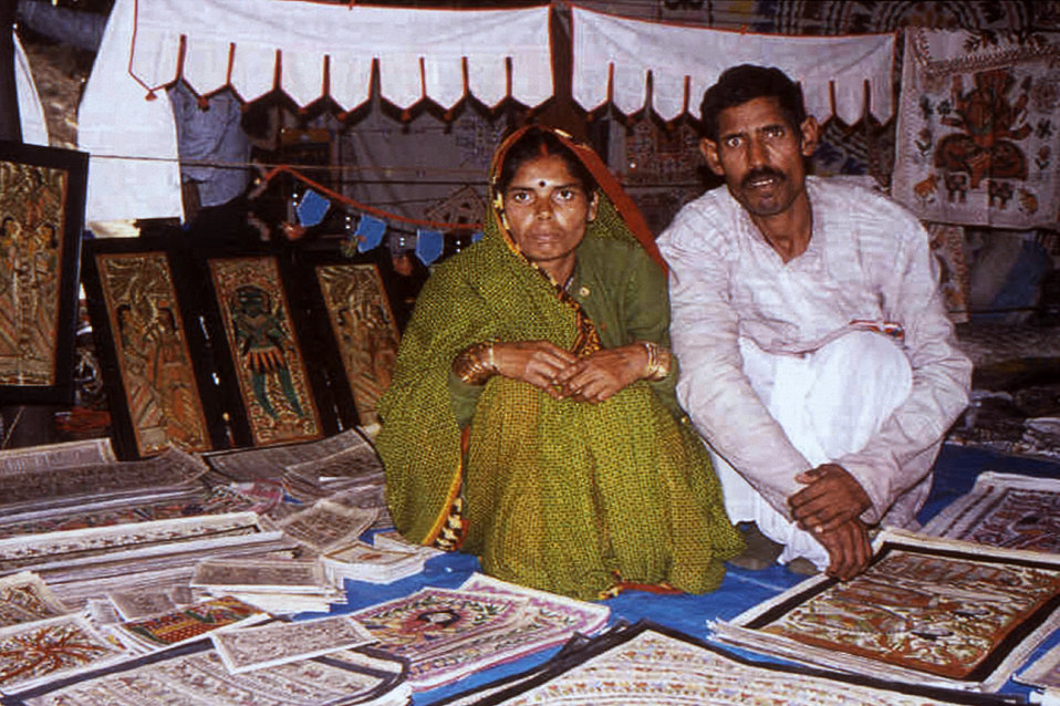 This 2000 photograph was captured during a craft fair in Delhi, India where vendors gathered to sell their wares. These events offered an ex