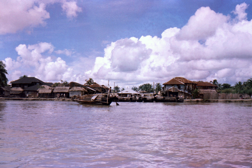 This photograph, which was captured in October, 1975, depicted a view from aboard a boat on the Bay of Bengal, of a typical Patuakhali Distr