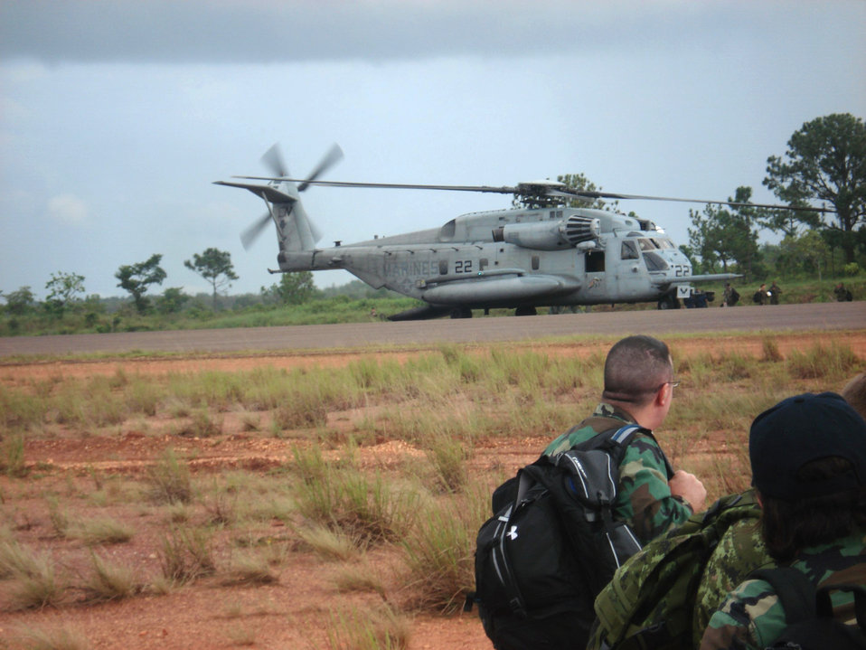 Here we see a US Navy helicopter delivering personnel and supplies to a remote clinic during Operation Continuing Promise (CP), 2008.