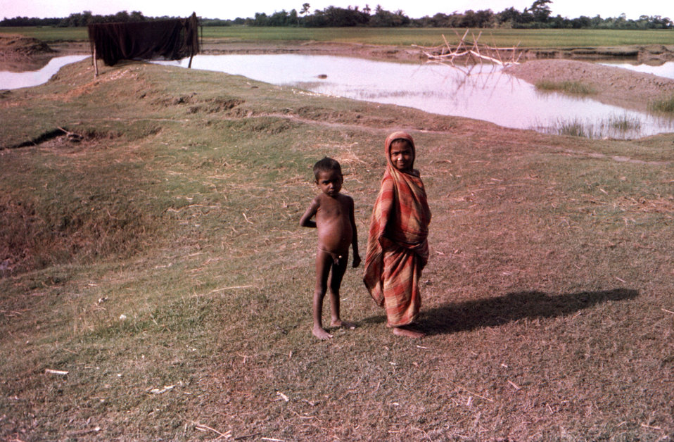 This September, 1975 photograph, captured these two young children as they were wandering nearby the 'Lord Harding Bazaar', which was the lo