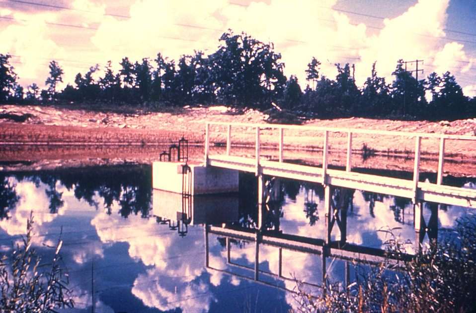 This 1976 photograph depicts an oxidation pond at a Georgian water treatment plant.