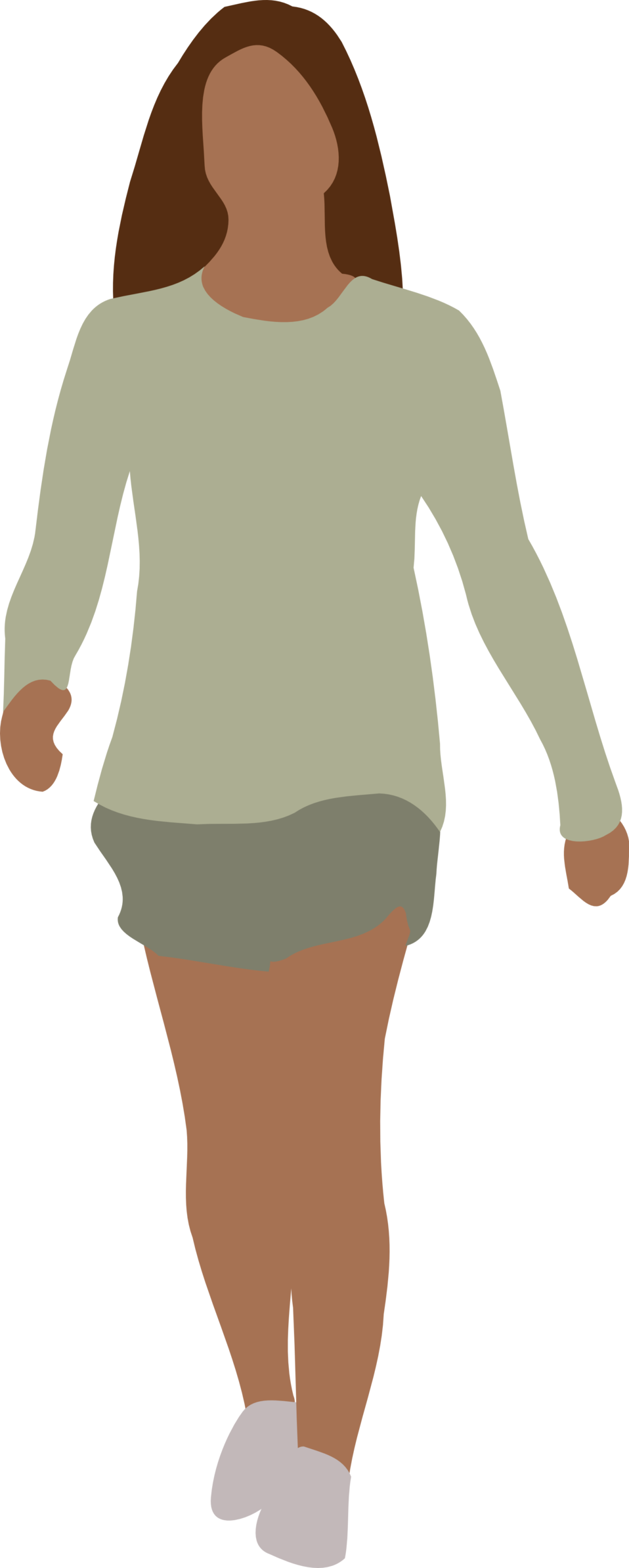 Faceless woman walking