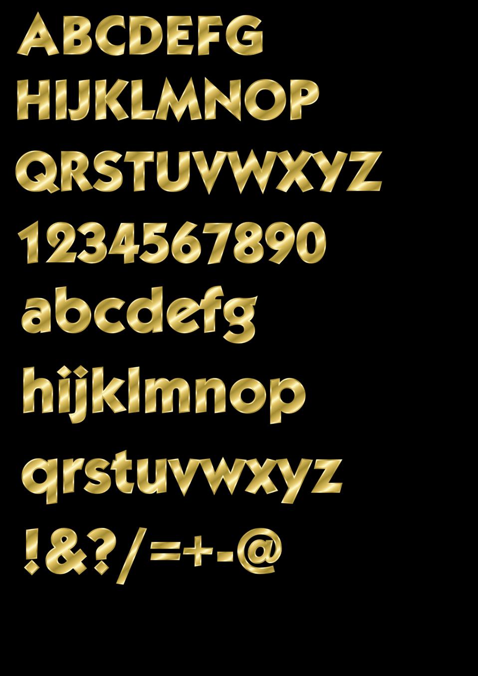 Effect Letters alphabet gold