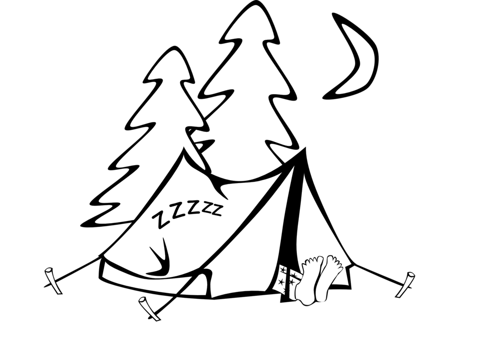 Sleeping in a tent