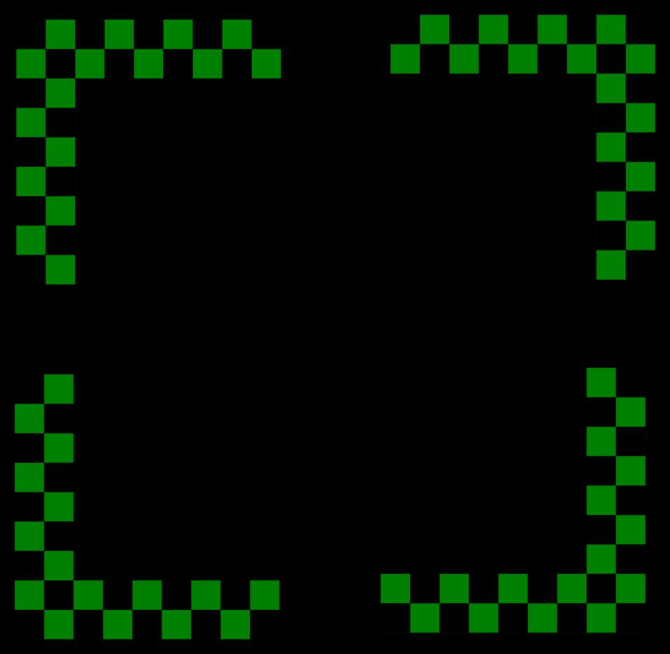 Corners design -  green checked