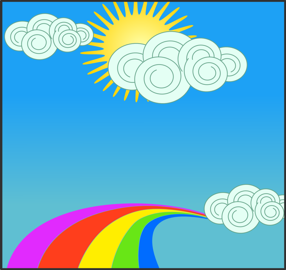 Sun, sky, clouds, and rainbow
