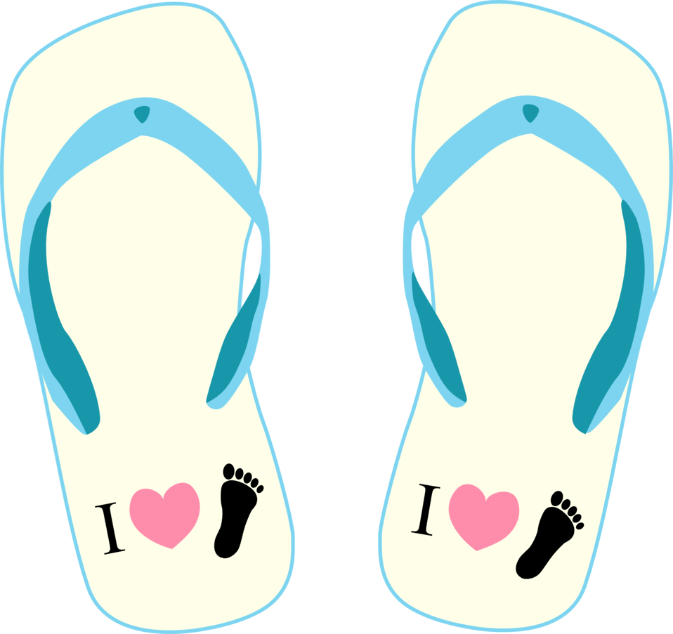 """Thong light yellow and blue with """"I Love Foot"""" symbol"""