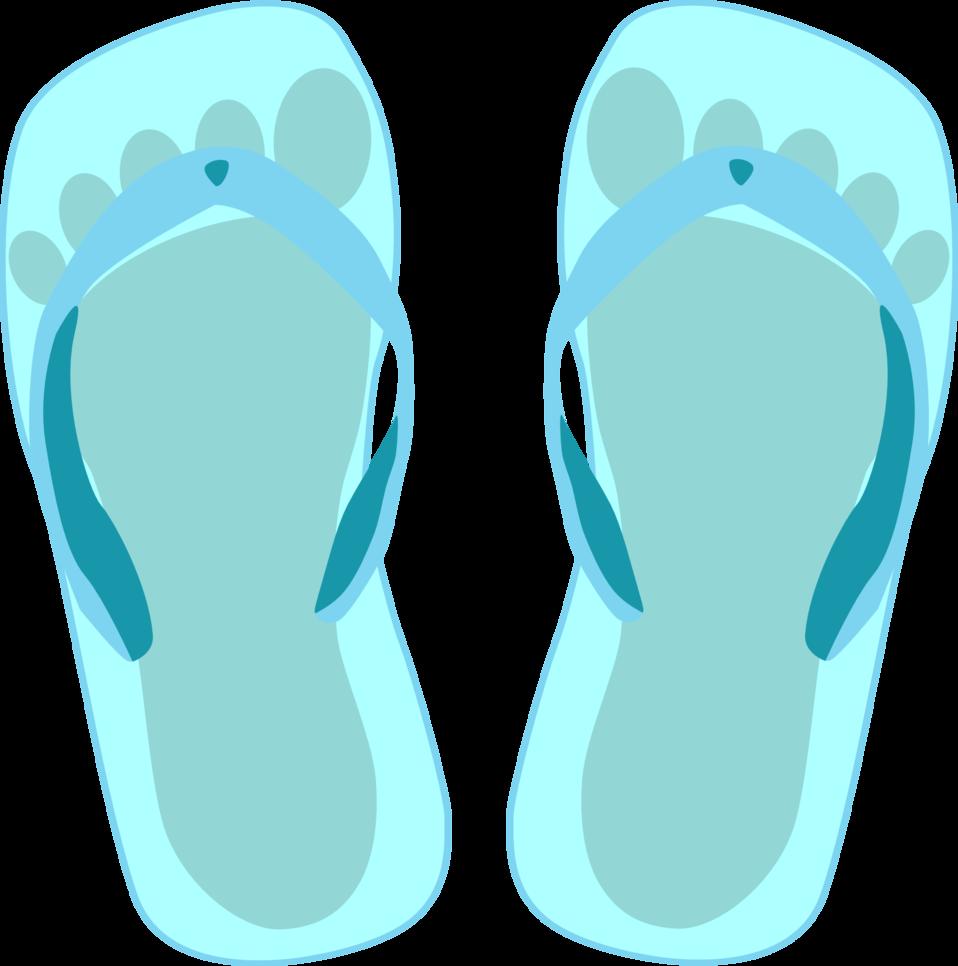 Thong light blue with footprint